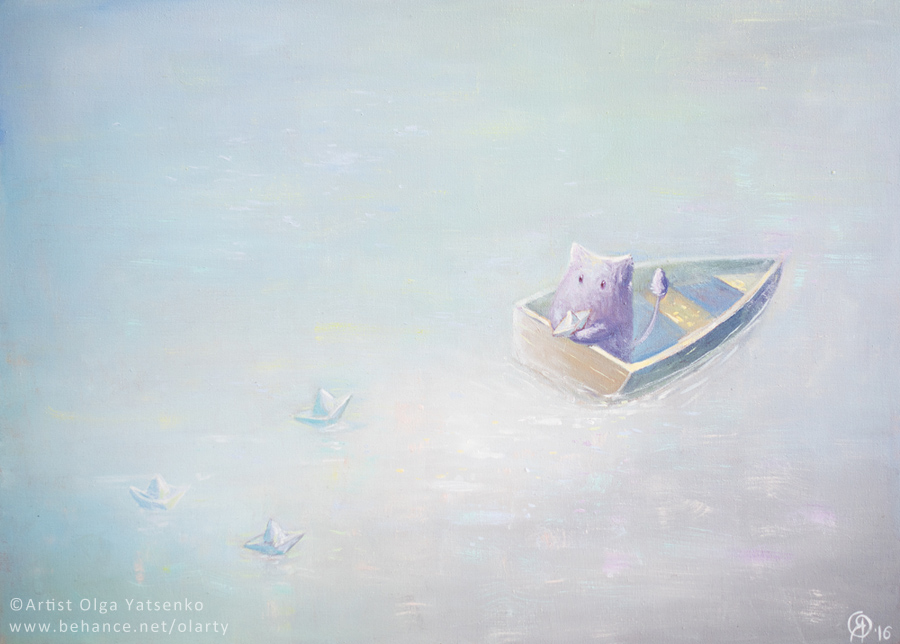 """My little ships"" Oil Canvas 50x70 cm"