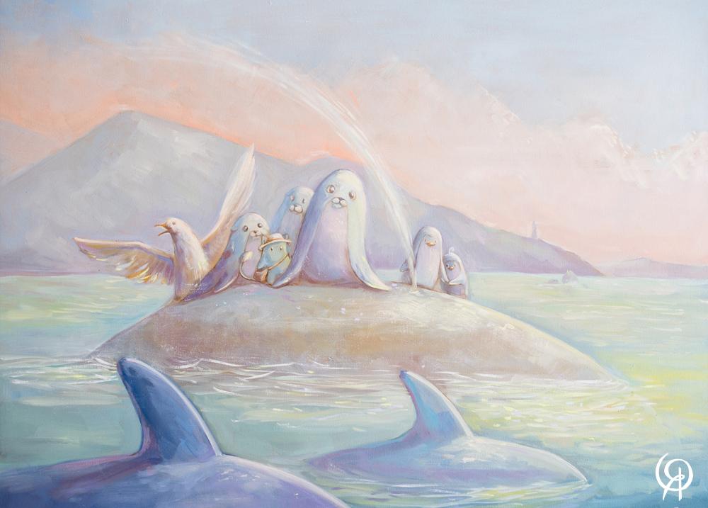 """New Zealand. The way through the ocean"" Oil Canvas 50x70 cm"