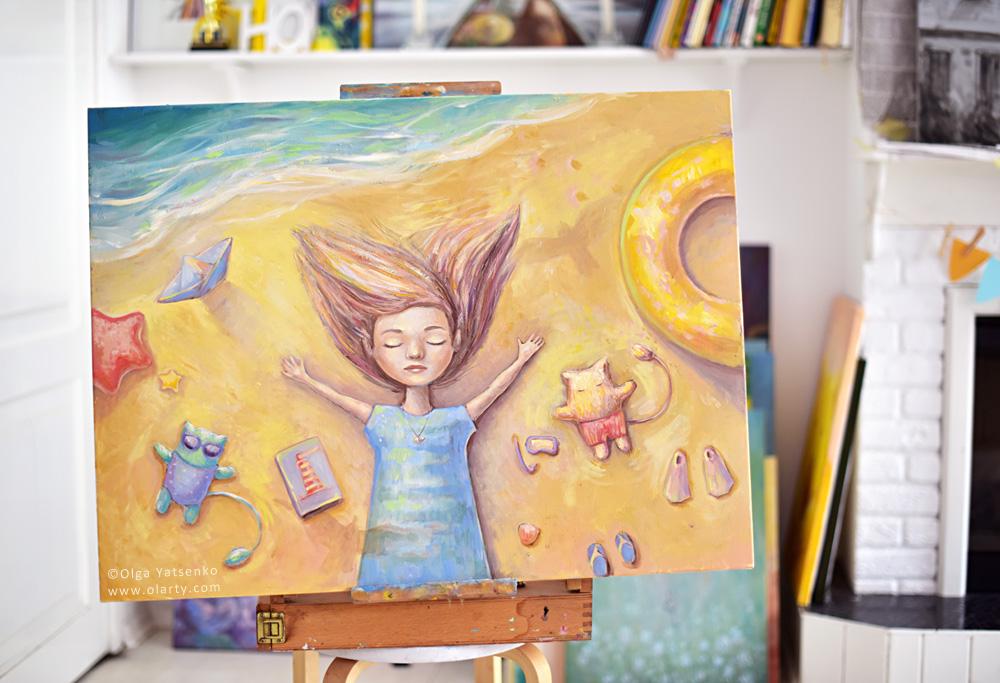 """Summer. Sea. Birds"" Oil Canvas 80x60 cm"