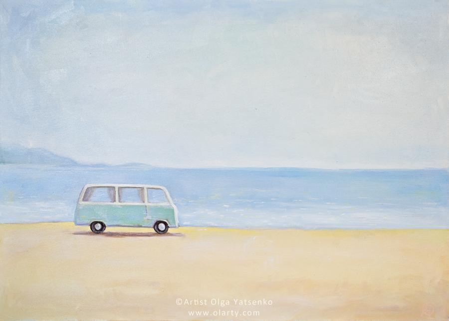 painting_artist_olga_yatsenko_vintage_car_ocean