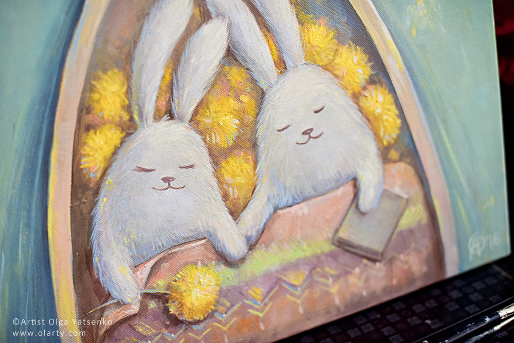 rabbits in love artist Olga Yatsenko olarty_close