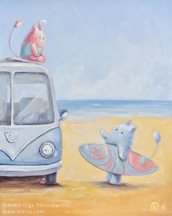 Two.Surfing.Ocean_puchnastyk_artist_Olga_Yatsenko